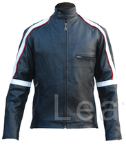Leather Skin Men Back Stripped Genuine Leather Jacket - $179.99