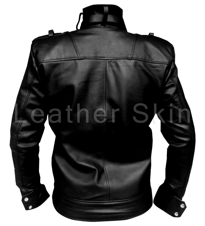 leather skin men black genuine leather jacket with front chest pockets outerwear. Black Bedroom Furniture Sets. Home Design Ideas