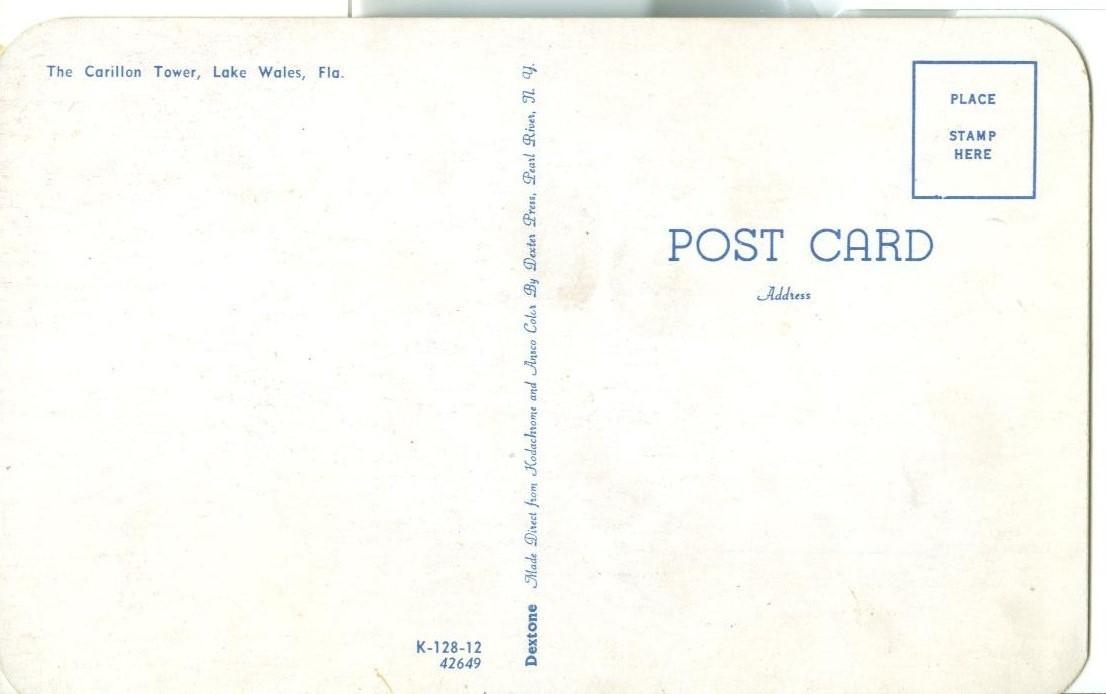 The Carillon Tower, Lake Wales, Florida, unused Postcard