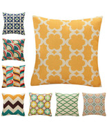 """18x18"""" Vintage Geometry Style Cushion Cover Cotton Linen Sofa Throw Pill... - $4.59"""