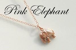 Pink Elephant Necklace, Lucky Rose Gold Elephant  on 14k Rose Gold Fille... - $66.00