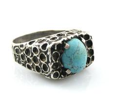 Vintage 1960s 70s Handmade Brutalist Modernist Sterling & Turquoise RING... - €132,58 EUR