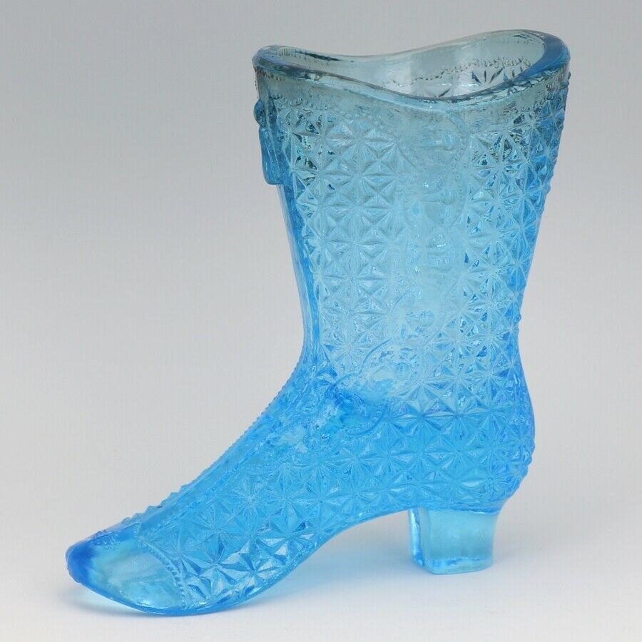 Gillinder Sons 1885 Fine Cut Cane EAPG Glass Blue Victorian Boot