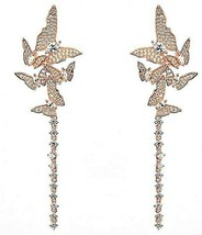 Pave Signity CZ 5 Flying ButterFlies Sterling Silver Omega Dangle Earrings 72mm - $159.99