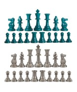 Staunton Triple Weighted Chess Pieces – Full Set 34 Aqua & Silver - 4 Qu... - $13.75