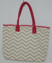 GANZ Style 101 Product Number ER39001 Large Canvas Tote Chevron Cream Tan image 1