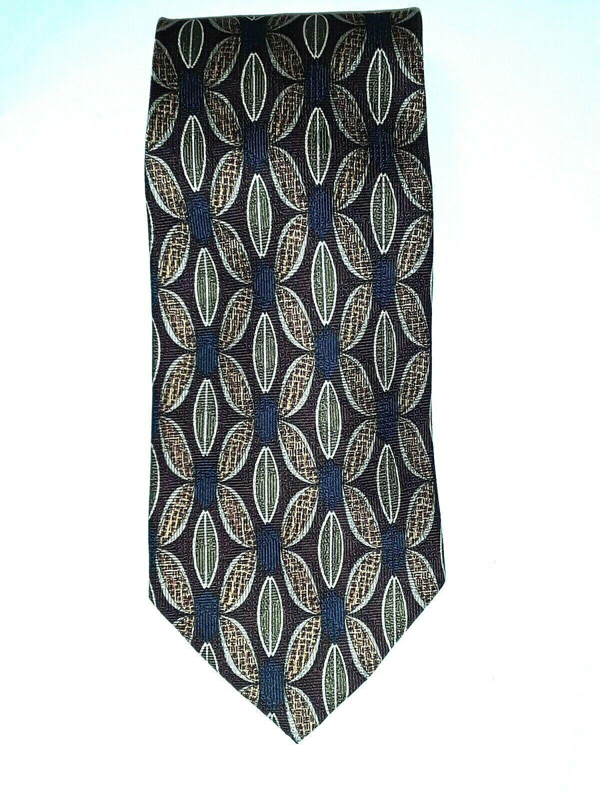 "Louis Roth Men's Tie Necktie 100% Silk Gold Black Burgundy Geometric 59"" x 4"" image 6"