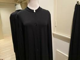 Stunning Genny Black Dress Long Coat & Pants 2 Piece Jersey Pant Suit S... - $197.99
