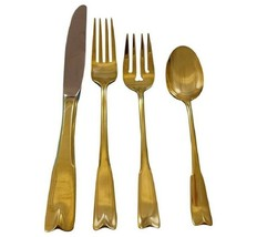 Colonial Theme by Lunt Sterling Silver Flatware Service 12 Set Vermeil Gold - $4,150.00