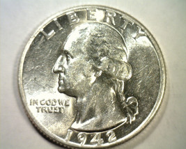 1942 WASHINGTON QUARTER CHOICE ABOUT UNCIRCULATED+ CH. AU+ NICE ORIGINAL... - $12.00