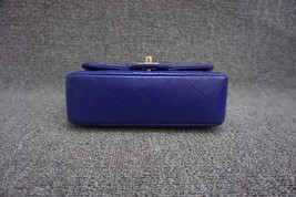 AUTH Chanel RARE ELECTRIC BLUE Quilted LAMBSKIN Large Mini 20CM Flap Bag GHW  image 3