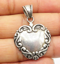 925 Sterling Silver - Vintage Swirly Detailed Love Heart Drop Pendant - ... - $25.26