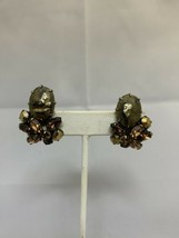 Vintage Amber Faceted Rhinestone Cluster Clip On Earrings (1768) - $10.00