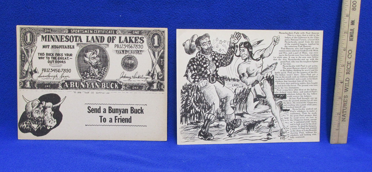 Primary image for Paul Bunyan & Babe Blue Ox Giant Postcards Set 2 Vintage Buck Artist Pete Edd