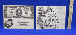 Paul Bunyan & Babe Blue Ox Giant Postcards Set 2 Vintage Buck Artist Pete Edd image 1