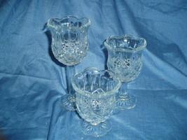 Home Interiors Stemmed Crystal Glass Trio Homco - $14.00