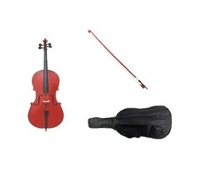 Merano 4/4 Full Size Red Cello with Red Bow+Soft Carrying Bag+Free Rosin  - $329.99