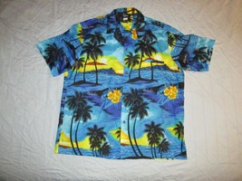 Royal Creations Button Up Hawaiian Shirt Made In Hawaii Sz XL Sunset Pal... - $19.99