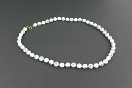 Vintage Beaded Floral Blue Flower Print  White Beads Necklace - $10.10