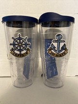 NEW Tervis Tumbler Cups w/ Lids 24 Oz Captain/First Mate Nautical Sailing - $42.06