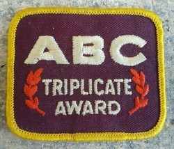 Bowling--ABC Triplicate Award Vintage Embroidered Patch--FREE SHIPPING - $13.55