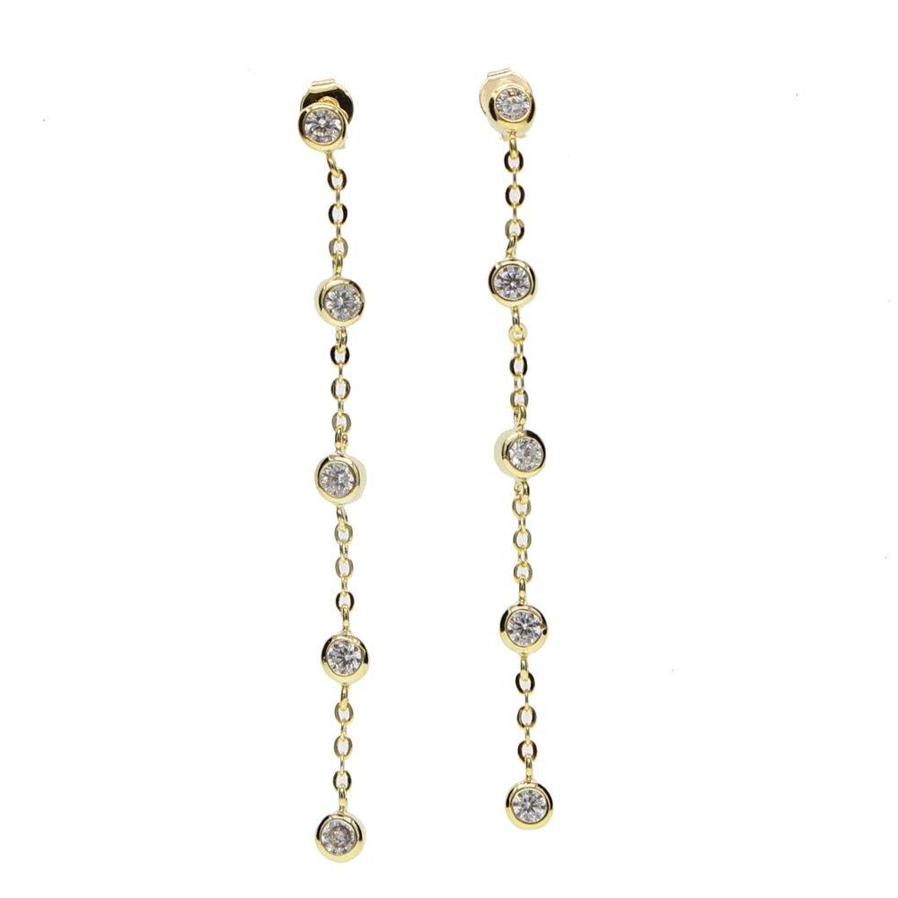 2020 fashion jewelry 5 PCS BEZEL cz cubic zirconia gold color elegant long chain - $16.38