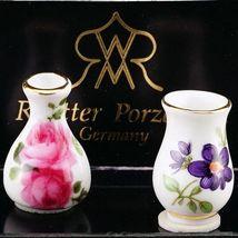 DOLLHOUSE Vase Pair Flowered 1.379/5 Reutter Porcelain Miniature - $13.58
