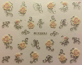 Nail Art 3D Decal Flowers Stickers Roses with Silver Accents BLE353J - $3.19