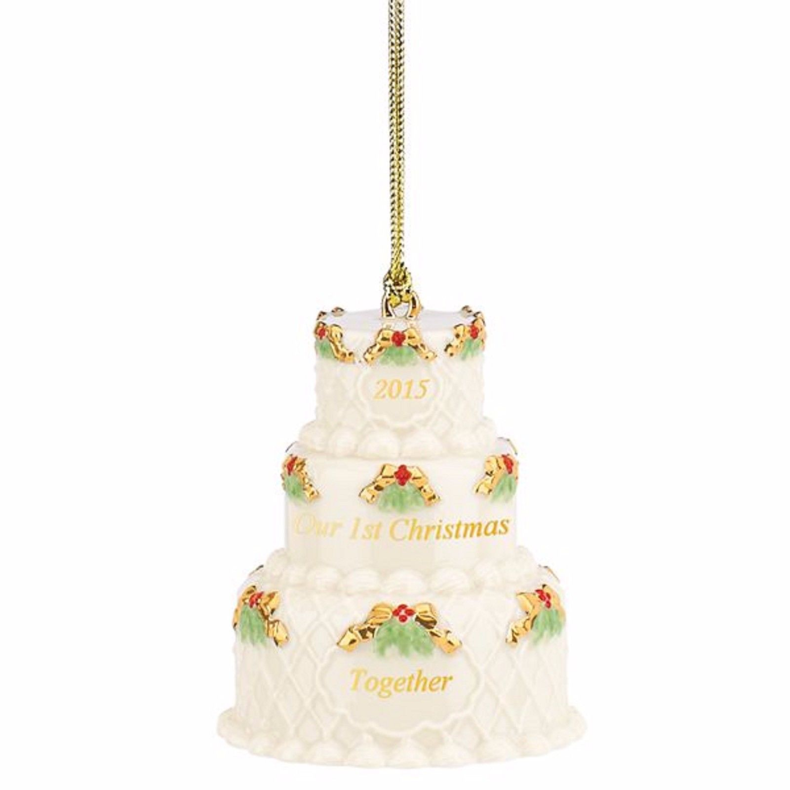 Lenox 2015 Our 1st Christmas Together Ornament First Wedding Cake Year Dated NEW