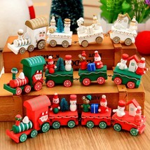 Christmas Train House Desk Children Cartoon Santa Decoration Handmade Wo... - $9.99