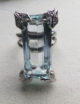 Estate Huge 17.10 carat VVS Aquamarine & diamond Platinum & Silver ring ... - $4,499.99