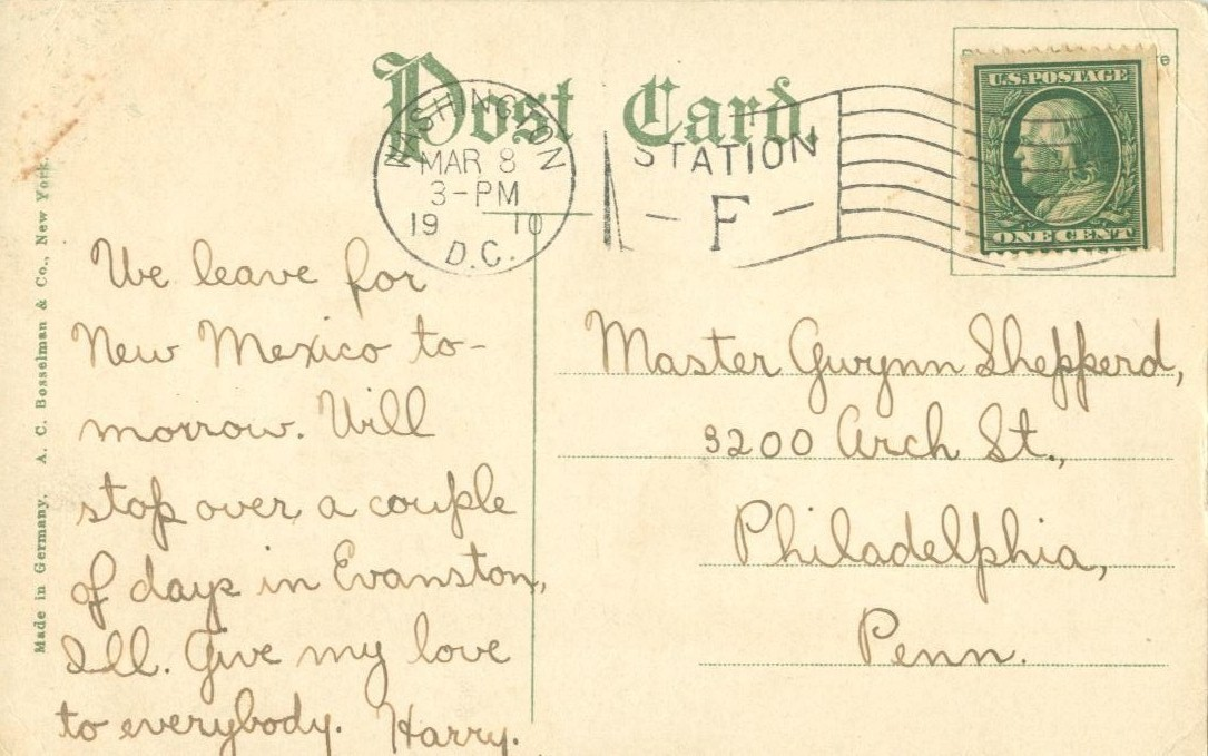 Carnegie Library, Washington, DC, 1910 used Postcard
