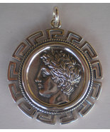 Apollo X-Large Silver Coin Pendant with Meander Design - God of Light - $79.90
