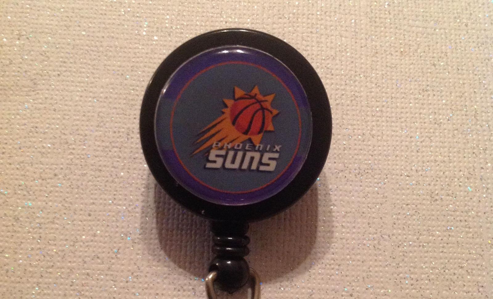 Nba Phoenix Suns Badge Reel Id Holder purple alligator clip handmade new