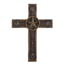 Wall Cross, Polyresin Rustic Home Wall Cross Decorations Plaque - $23.99