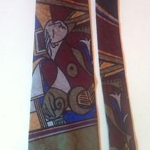LUCIANO GATTI Italian Neck Tie 100% SILK Red Blue Abstract Art Theme EUC... - $13.25