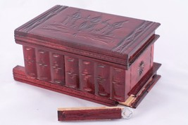 Unique Handcrafted Natural Wood Jewelry Keepsake Trinket Box Cherry Red ... - $70.13