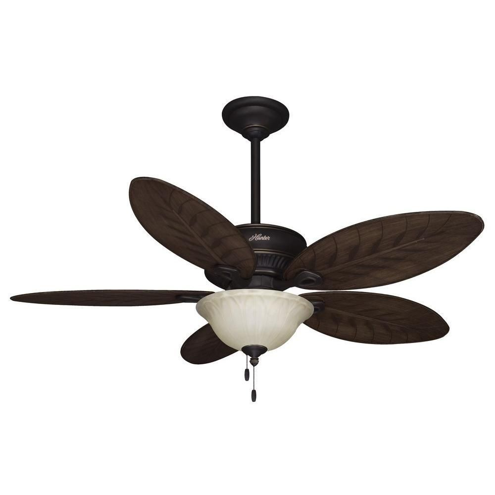 Ceiling Fans W Lights: Hunter Grand Cayman 54 In. Onyx Bengal Damp Rated Ceiling