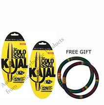 Maybelline Colossal Kajal 12H Black Pack Of 2 - With FREE GIFT Pair of M... - $5.40