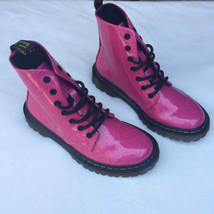 Dr. Martens Womens Luana Sz 6 Tie Boot Pink Sparkle New Doc - $168.29