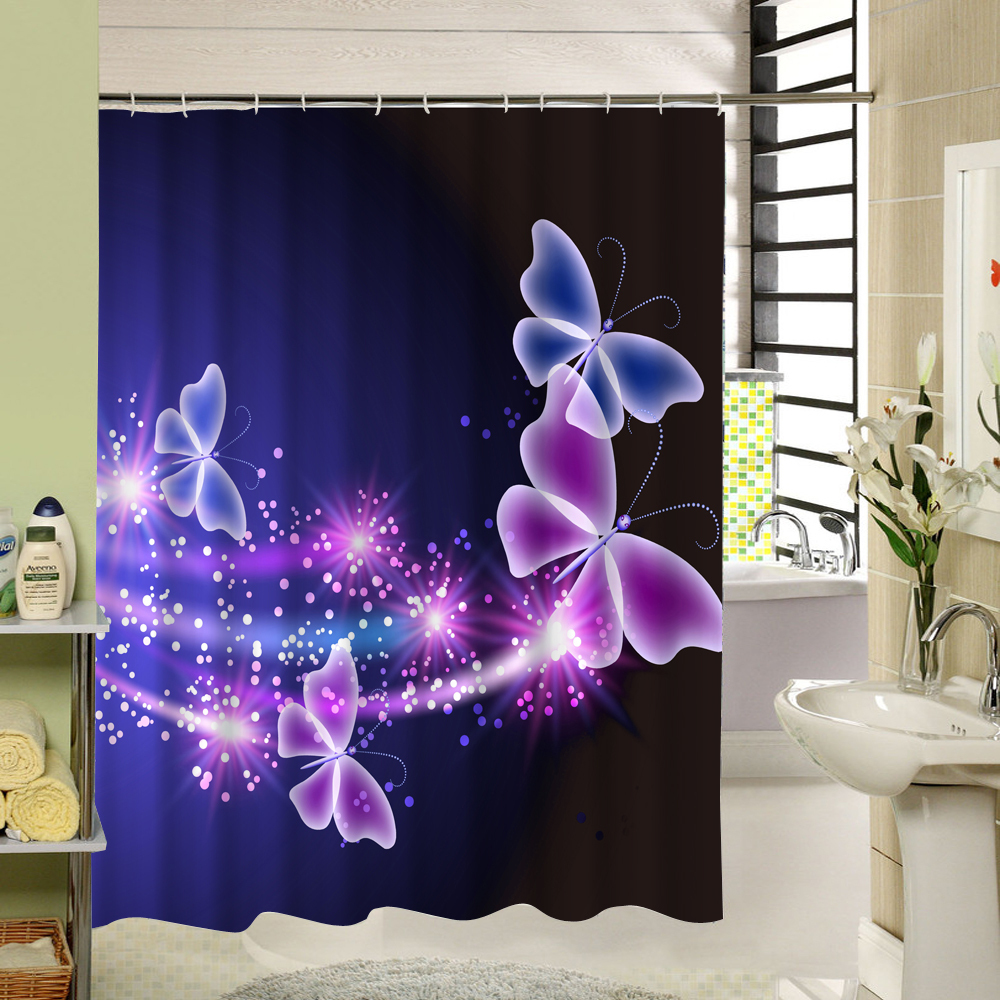 2017 New Polyester Fabric Shower Curtain Purple Waterproof Home Bathroom Curtain