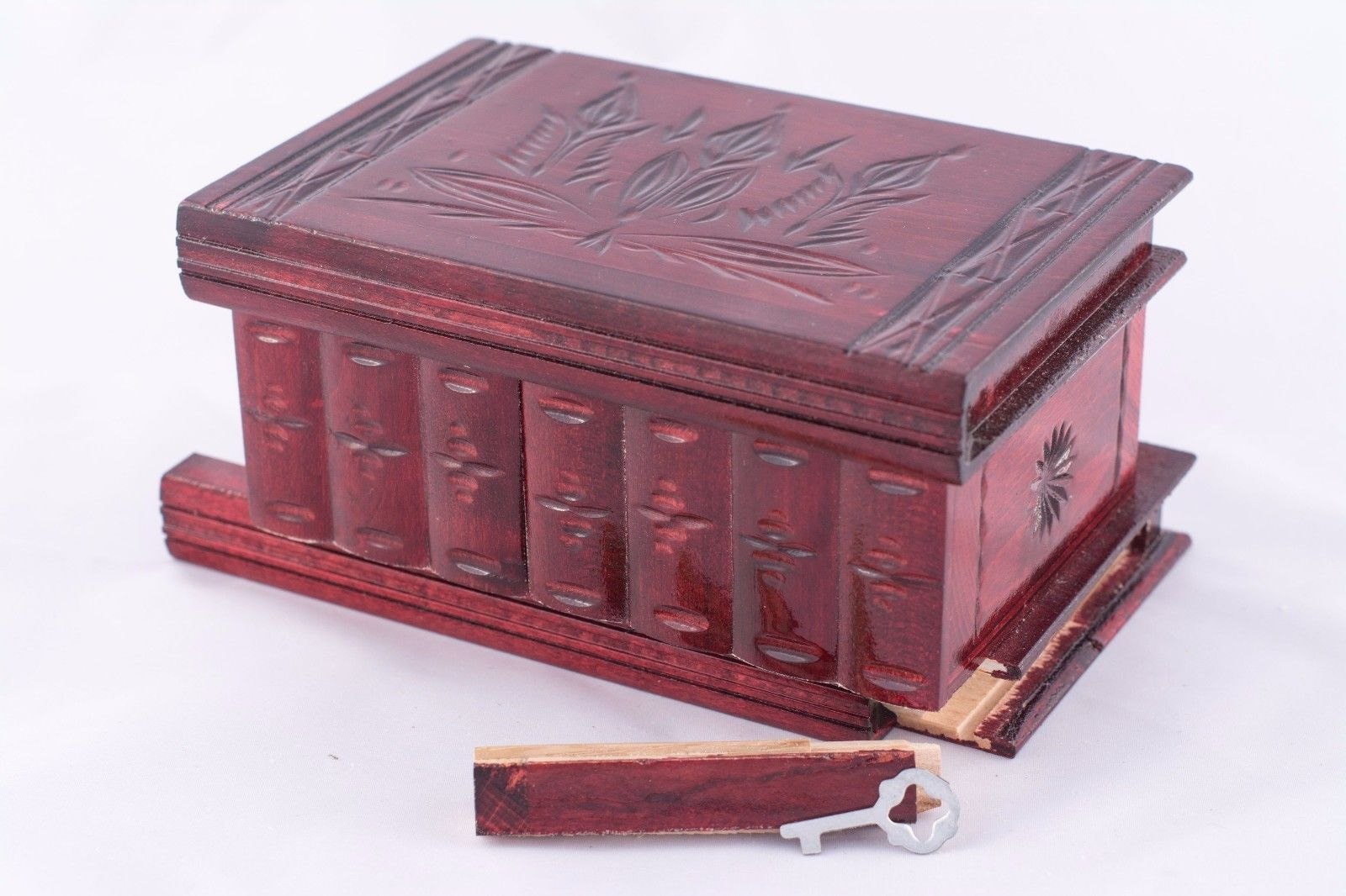 Unique Handcrafted Natural Wood Jewelry Keepsake Trinket Box Cherry Red Puzzle