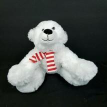 "Christmas Plush Polar Bear Stuffed Animal 10"" Red White Striped Scarf Soft - $17.81"