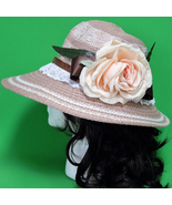 New Brown & White Hand-Decorated Women's Large Brimmed Floppy Sun Hat - $8.95