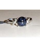 Blue Star Sapphire Round & White Topaz Round Ring, 925 Silver, Size 7, 3.57(TCW) - $85.00