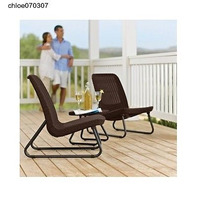 Patio Set 3-Piece Keter Furniture Tables and Chairs Rattan Garden Decking
