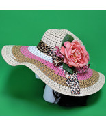 New Extra Large Wide-Brimmed Ladies Sun Hat In Pink, White, Brown, And Tan - $9.95