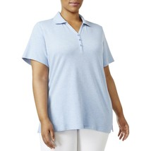 Top 2X Plus $32 Karen Scott NWT Light Blue Heat Collared Short Sleeve Po... - $15.83