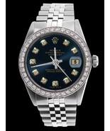 Blue diamond dial bezel men Rolex SS jubilee br... - $3,984.70