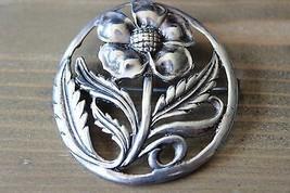"""Large Vintage Sterling Silver Flower Brooch Signed MC 2"""" - $184.14"""